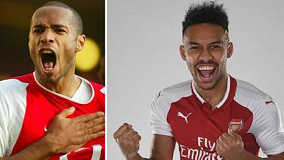 Aubameyang aims to emulate Thierry Henry, handed 14 shirt