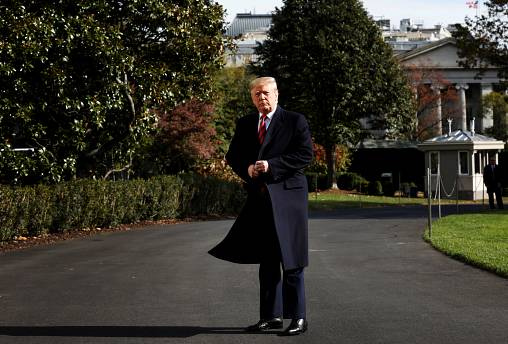 Image: President Donald Trump on the South Lawn of the White House on Nov.