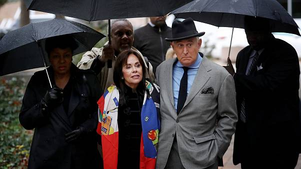 Image: Roger Stone and his wife, Nydia, arrive at court in Washington on No