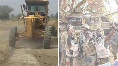 [Photos] Nigeria Army rebuilding Boko Haram HQ, recaptures combat arms