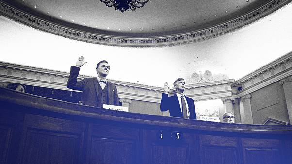 Image: George Kent and Bill Taylor are sworn-in for testimony before the Ho