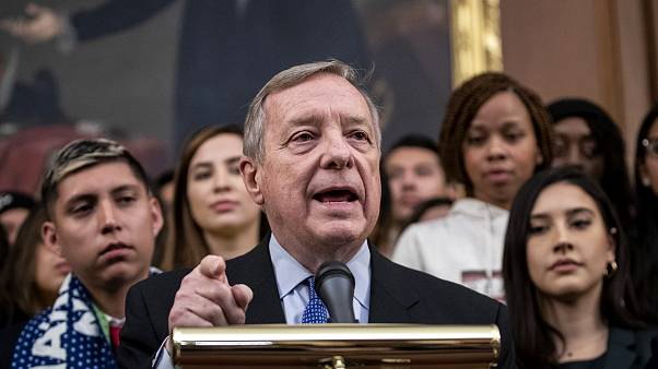 Image: Sen. Dick Durbin, D-IL, speaks at a press conference on Capitol Hill