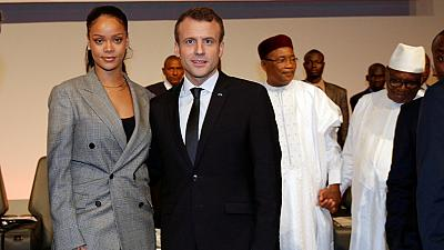 Rihanna Reunites With French President Emmanuel Macron for Global Education Funding