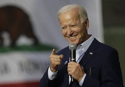 Vice President Joe Biden smiles as he holds a campaign rally in Los Angeles on Thursday.