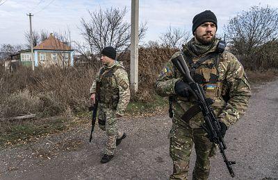 Ukrainian policemen patrol in eastern Ukraine earlier this month.
