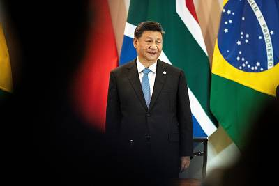 Xi Jinping arrives for a meeting in Brasilia, Brazil, on Thursday.
