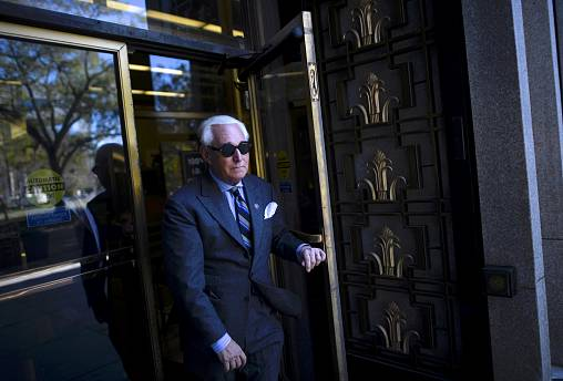 Image: Roger Stone leaves court during a lunch break in his trial in Washin
