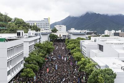 Students gather on the University Mall at the Chinese University of Hong Kong (CUHK) during a class boycott rally in Hong Kong, China, on Sept. 2, 2019.  Bloomberg via Getty Images