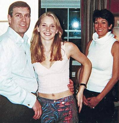 Virginia Giuffre with Prince Andrew and Ghislaine Maxwell at Prince Andrew\'s London home in a photo released with court documents.