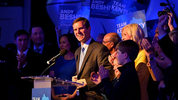 Image: Kentucky's Attorney General Andy Beshear reacts to election results