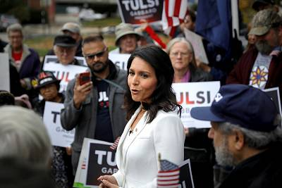 U.S. Democratic Presidential candidate Tulsi Gabbard greets supporters after filing her declaration of candidacy papers to appear on the 2020 New Hampshire primary election ballot at the State House in Concord, N.H. on Nov. 5, 2019.