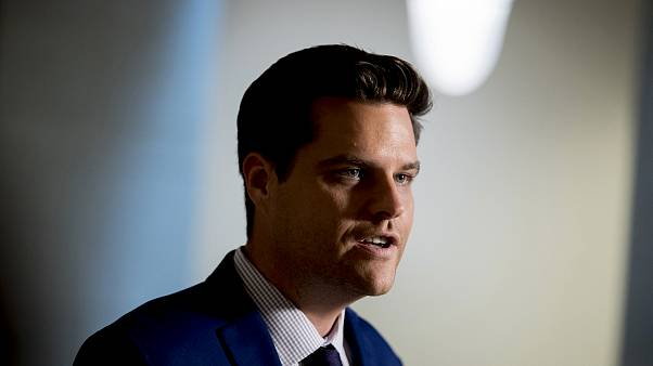Image: Rep. Matt Gaetz, R-Fla., speaks to reporters on Capitol Hill on Oct.