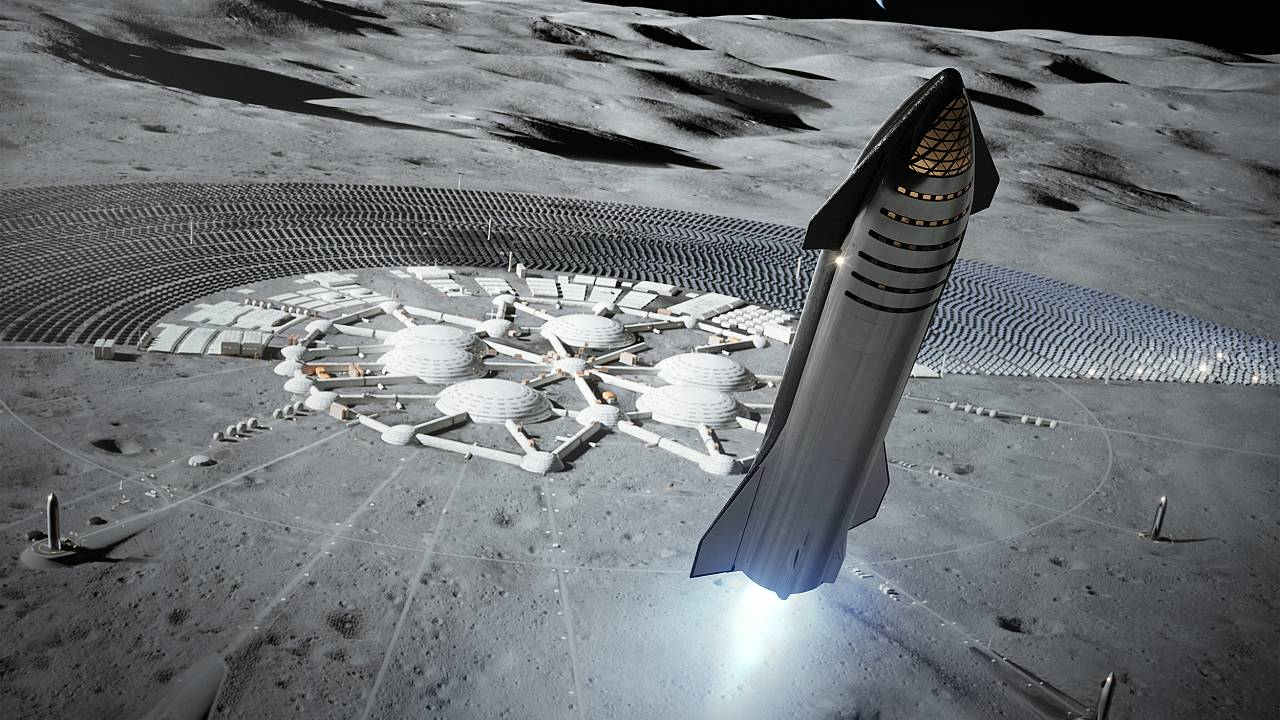 Artist's illustration of SpaceX's Starship on the moon.