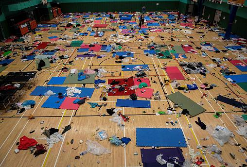 Image: A gymnasium used by protesters as a dormitory inside the Hong Kong P