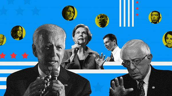 A composite image of the leading Democratic presidential candidates.