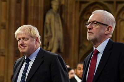Prime Minister Boris Johnson and main opposition Labour Party leader Jeremy Corbyn during the State Opening of Parliament in the Houses of Parliament in London on Oct. 14.