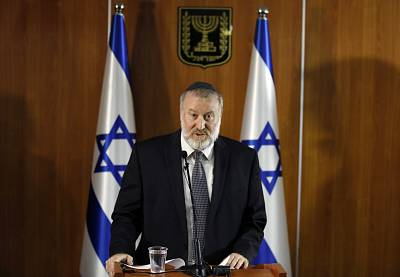 Israel\'s attorney general Avichai Mandelblit during a press conference on Thursday.