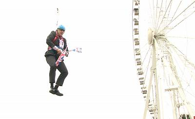 Mayor Boris Johnson as London mayor gets stuck on a zipwire on Aug. 1, 2012.