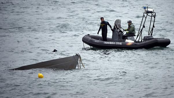 Image: The prow of a submarine used to transport drugs illegally emerges as