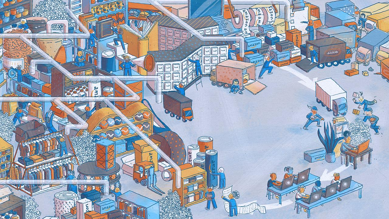 Illustration of a hectic scene of Amazon orders being made, processed, and