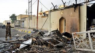 Image: The burnt Iranian consulate in Najaf