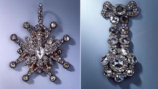 Image: Jewel of the Polish White Eagle Order and a diamond epaulette, among