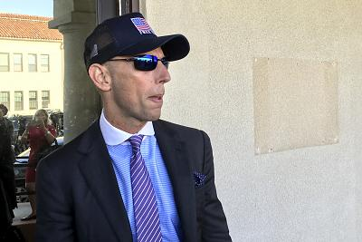 Marc Mukasey, defense lawyer for Navy Special Operations Chief Edward Gallagher, arrives to military court on Naval Base San Diego on July 2, 2019, in San Diego.
