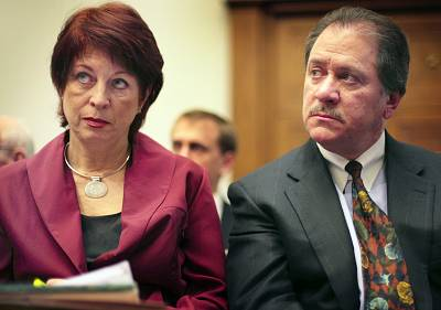 Victoria Toensing and Joseph diGenova listen to former CIA agent Valerie Plame Wilson testify before the House Oversight and Government Reform Committee on Capitol Hill Friday, March 16, 2007.