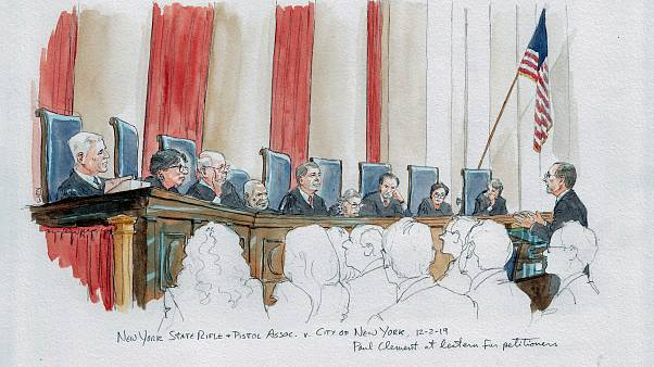 Paul Clement argues for gun owners at the Supreme Court on Dec. 2, 2019.