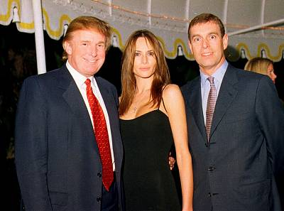 Donald Trump stands with Melania, his girlfriend at the time and current first lady, and Prince Andrew at Mar-a-Lago in Palm Beach, Florida, Feb. 12, 2000.