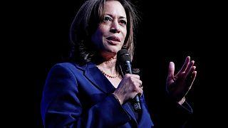 Democratic presidential candidate Kamala Harris speaks at the Bellagio Hote