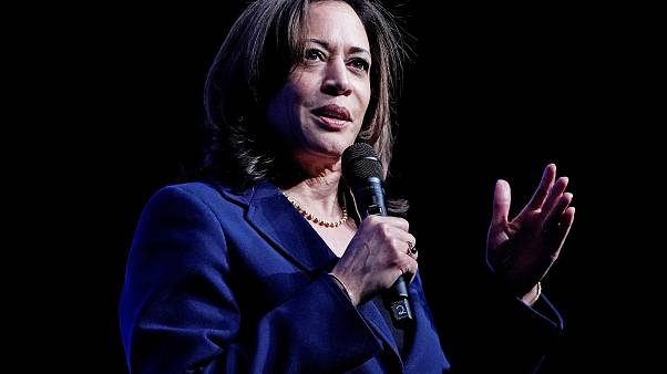 Democratic presidential candidate Kamala Harris speaks at the Bellagio Hote
