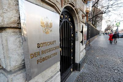 The Russian Embassy in Berlin after Germany expelled two Russian diplomats on Wednesday.
