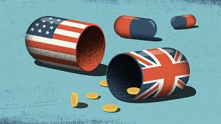 Illustration of a broken open pill, one side with an American flag and anot