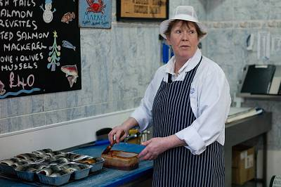 Fishmonger Christine Short works in her shop in Hartlepool.