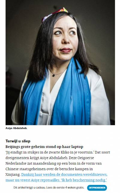 """Asiye Abdulaheb told the Dutch paper de Volksrant that she leaked secret Chinese documents about """"re-education"""" camps for Uighurs and now fears for her safety."""