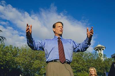 Vice President Al Gore makes a speech during a stop on his presidential campaign in 1999.