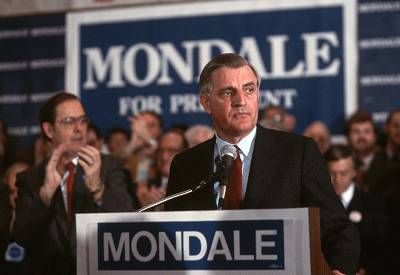 Former Vice-President Walter Mondale gives a speech during his campaign in Minnesota in 1984.