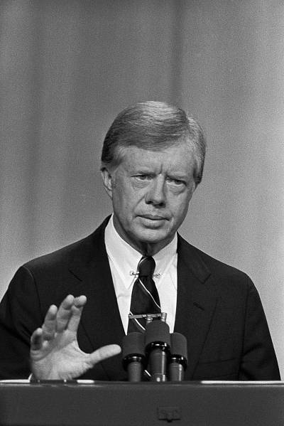 President Carter speaks during a debate against Ronald Reagan in Cleveland, Ohio on Oct. 28, 1980.