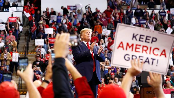 Image: President Donald Trump delivers remarks during a campaign rally in B