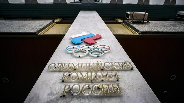 Image: A logo of the Russian Olympic Committee (ROC)on the facade of its he