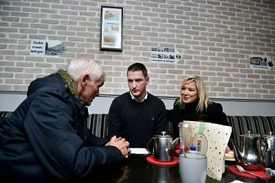 Finucane on the campaign trail alongside Michelle O\'Neill, Sinn Fein\'s deputy leader.