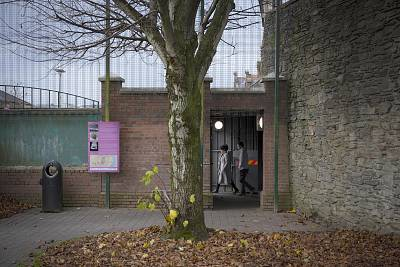 A gate out of the Fountain estate that is closed every night to keep communities separated.