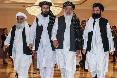 Taliban members during the second day of talks with prominent Afghans in the Qatari capital Doha on July 8.