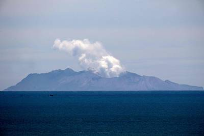 Steam rises from the White Island volcano Wednesday.