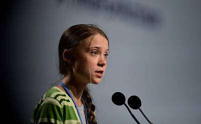 Swedish climate activist Greta Thunberg gives a speech during a high-level event on climate emergency hosted by the Chilean presidency during the UN Climate Change Conference COP25 in Madrid, on Dec. 11, 2019.