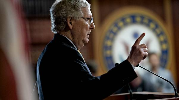 Image: Senate Majority Leader Mitch McConnell speaks at a news conference a