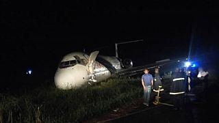 [Photos] Nigeria plane overshoots runway into bush