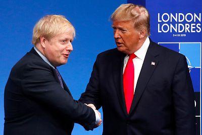 British Prime Minister Boris Johnson greets President Donald Trump at the NATO meeting in London on Dec. 4.