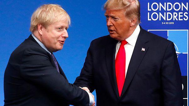 Image: Britain's Prime Minister Boris Johnson greets President Donald Trump